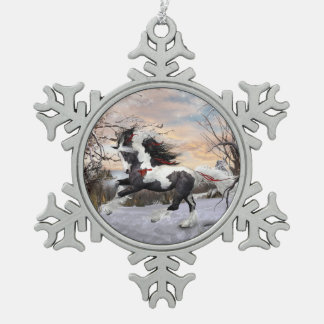 Pewter Snowflake Gypsy Vanner Horse Ornament