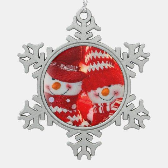 Pewter Snowflake Ornament/Snowman Happy Couple Pewter Snowflake Decoration