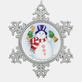 Pewter Snowflake Ornament/Snowman Snowflake Pewter Christmas Ornament