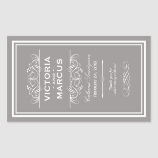 Pewter Wedding Wine Bottle Monogram Favor Labels