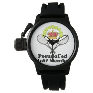 PF Men's Crown Protector Black Rubber Strap Watch
