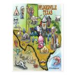 Pflugerville Texas Cartoon Map Post Card