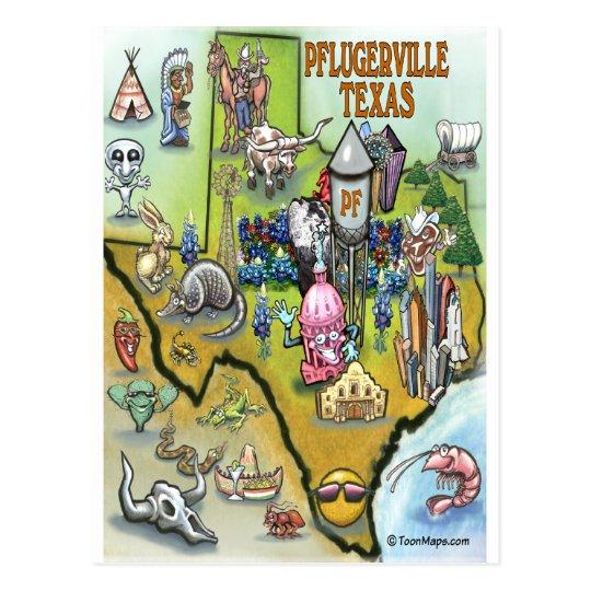 Pflugerville Texas Cartoon Map Postcard