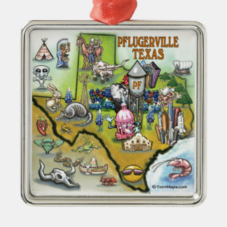 Pflugerville Texas Cartoon Map Silver-Colored Square Decoration