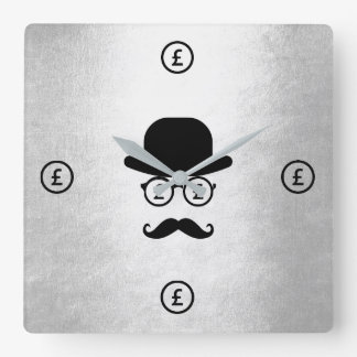 Pfound Sterling Londoner Mustache Hat Square Wall Clock