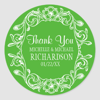 PG Vintage Floral Wreath Wedding Favor Round Sticker