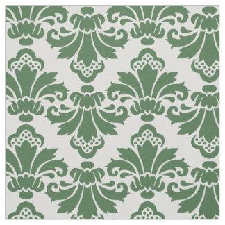 PH&D Antique Damask Fabric Dark Green/White