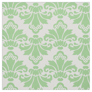 PH&D Antique Damask Fabric Spring Green/White