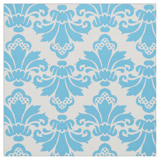 PH&D Antique Damask Fabric Turquoise/White