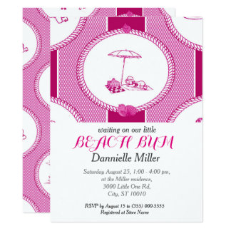 PH&D Beach Bums Baby Shower Invitation Magenta