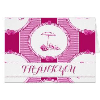 PH&D Beach Bums Baby Shower Thank You Card Magenta