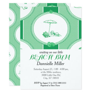 PH&D Beach Bums Baby Shower Toile Invitation Green