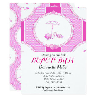 PH&D Beach Bums Baby Shower Toile Invitation Pink