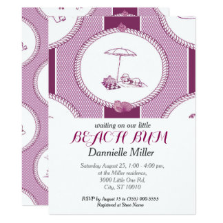 PH&D Beach Bums Baby Shower Toile Invitation Plum