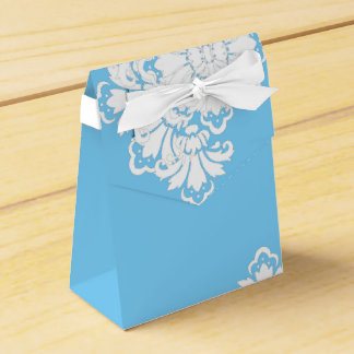 PH&D Blue Turquoise White Damask Favor Box A Wedding Favour Boxes