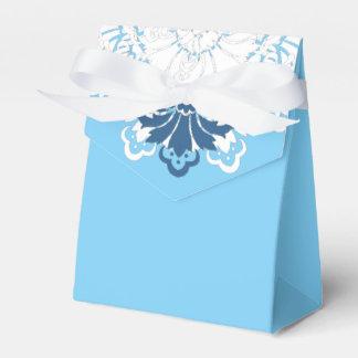 PH&D Blue Turquoise White Damask Favor Box C Wedding Favour Box
