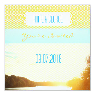 PH&D Custom Wedding Invitation Teal Sunset Palm A