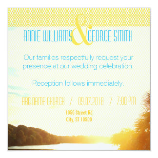 PH&D Custom Wedding Invitation Teal Sunset Palm B