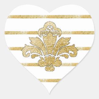 PH&D Faux Gold Damask Striped Heart Sticker Black