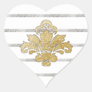 PH&D Faux Gold/Silver Damask Striped Heart Sticker