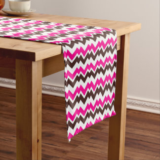 PH&D Panama Chevron Table Runner Chocolate/Pink
