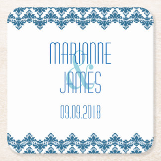 PH&D Personalize Wedding Coaster Teal 2 Damask Square Paper Coaster