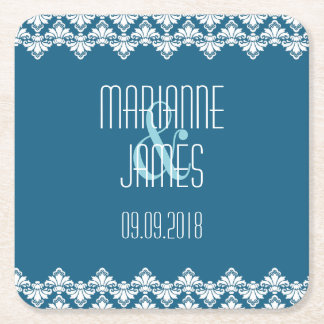 PH&D Personalize Wedding Coaster Teal Damask Square Paper Coaster