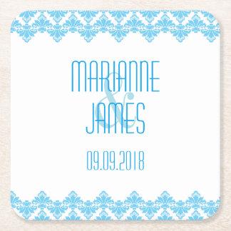 PH&D Personalize Wedding Coaster Turquoise 2Damask