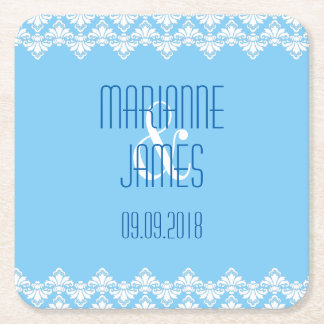 PH&D Personalize Wedding Coaster Turquoise Damask Square Paper Coaster