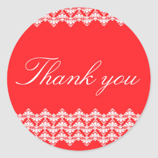 PH&D Thank You Sticker Antique Damask Red
