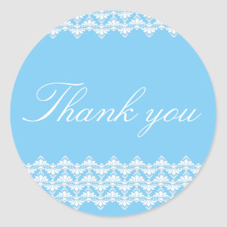 PH&D Thank You Sticker Antique Damask Turquoise