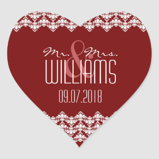 PH&D Wedding Heart Sticker Burgundy Damask