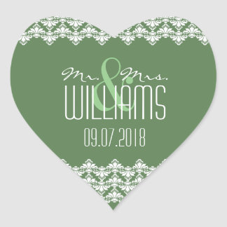 PH&D Wedding Heart Sticker Dark Green Damask