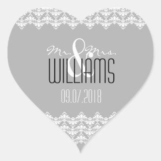 PH&D Wedding Heart Sticker Gray White Damask