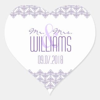 PH&D Wedding Heart Sticker Lilac Purple 2 Damask