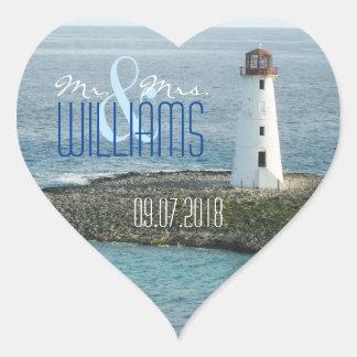PH&D Wedding Heart Sticker New England Lighthouse