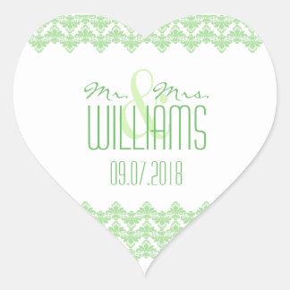 PH&D Wedding Heart Sticker Spring Green 2 Damask