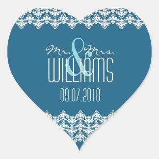 PH&D Wedding Heart Sticker Teal Damask