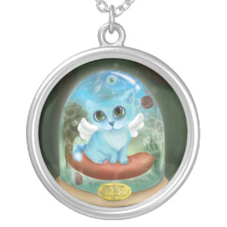 Phantasmagoric cat round pendant necklace