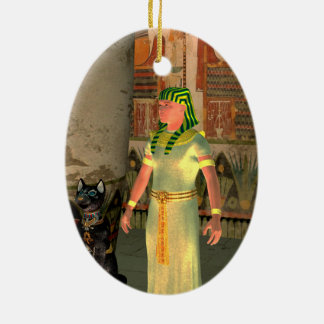 Pharao in the pyramid ceramic oval decoration