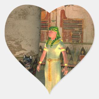 Pharao in the pyramid heart sticker