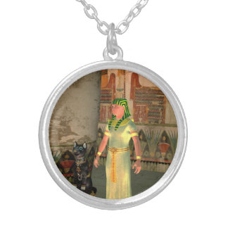 Pharao in the pyramid round pendant necklace