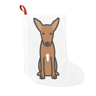 Pharaoh Hound Dog Cartoon Small Christmas Stocking