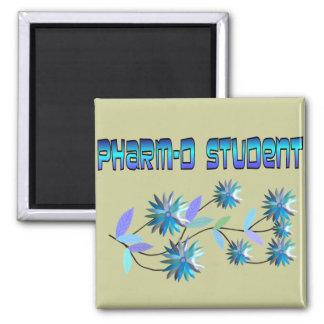 Pharm D Student Blue Flowers Design Square Magnet