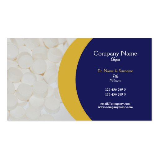 Pharmaceutical tablets medical Practitioner's Business Card Template
