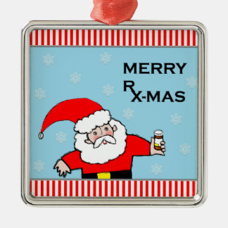 pharmacist christmas Silver-Colored square decoration