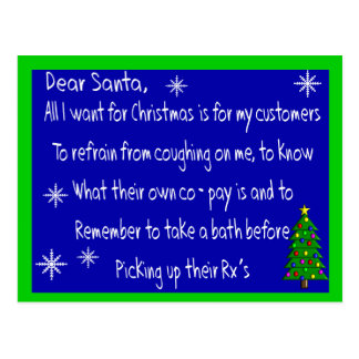 """Pharmacist """"DEAR SANTA"""" Christmas Themed Gifts Postcard"""
