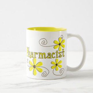 Pharmacist Gifts, Yellow Daisies Two-Tone Coffee Mug