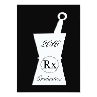 Pharmacist Graduation Party Black 11 Cm X 16 Cm Invitation Card