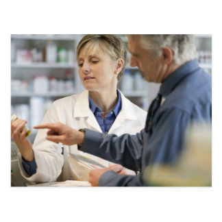 Pharmacist helping customer with medicine postcard